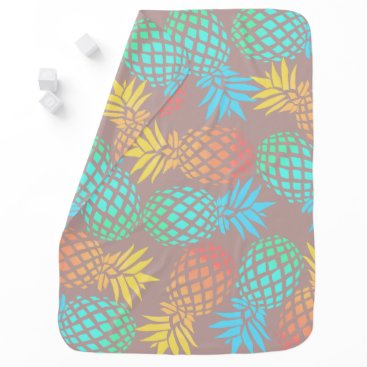 Beach Themed summer tropical colorful pineapple pattern stroller blanket