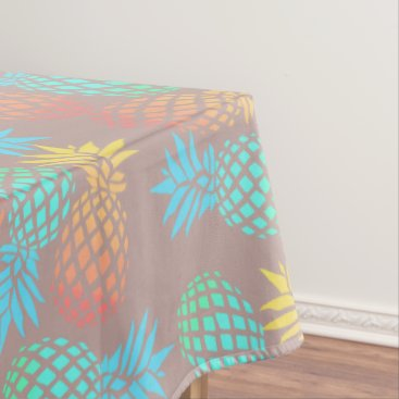 Beach Themed summer tropical colorful pineapple pattern tablecloth