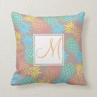 summer tropical colorful pineapple pattern throw pillow