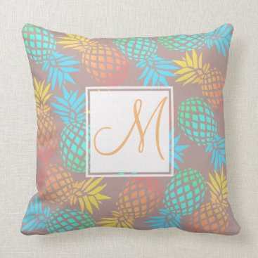 Beach Themed summer tropical colorful pineapple pattern throw pillow