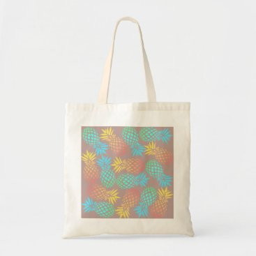 summer tropical colorful pineapple pattern tote bag