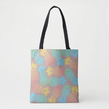 Beach Themed summer tropical colorful pineapple pattern tote bag