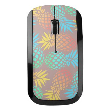 Beach Themed summer tropical colorful pineapple pattern wireless mouse