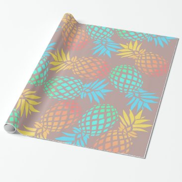 Beach Themed summer tropical colorful pineapple pattern wrapping paper