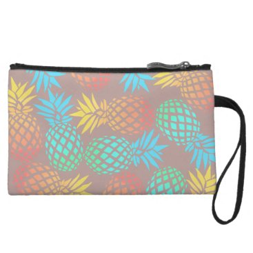 summer tropical colorful pineapple pattern wristlet wallet