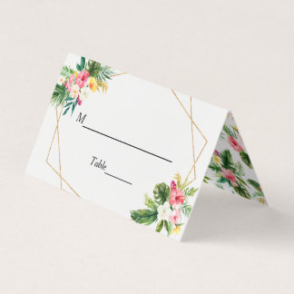Summer Tropical Floral Wedding Table Escort Place Card