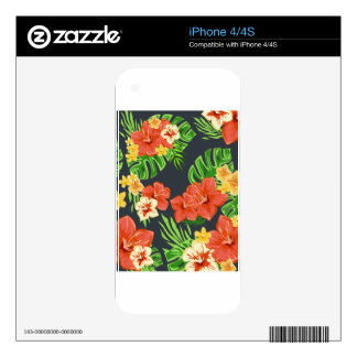 Summer tropical flowers decals for iPhone 4