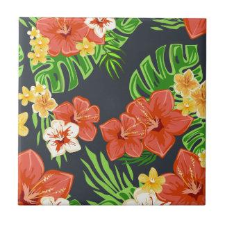 Summer tropical flowers tile
