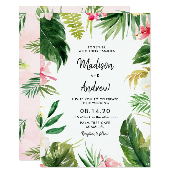 Summer Tropical Leaves Wedding Invitation Card Zazzle Com Are you looking for leaf invitation design templates psd or ai files? summer tropical leaves wedding invitation card zazzle com