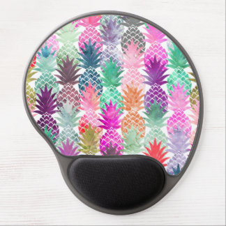 Summer tropical pineapples pastel watercolor gel mouse pad