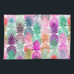 """Summer tropical pineapples pastel watercolor hand towel<br><div class=""""desc"""">A modern,  summer,  tropical and exotic watercolor pineapples fruits pattern in pink,  purple,  green and blue. The color background is fully customizable</div>"""