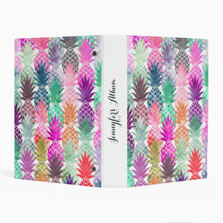 Summer tropical pineapples pastel watercolor mini binder