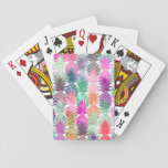 "Summer tropical pineapples pastel watercolor playing cards<br><div class=""desc"">A modern,  summer,  tropical and exotic watercolor pineapples fruits pattern in pink,  purple,  green and blue. The color background is fully customizable</div>"