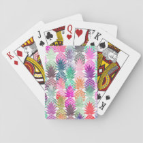 Summer tropical pineapples pastel watercolor playing cards