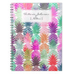 Summer tropical pineapples pastel watercolor spiral notebook