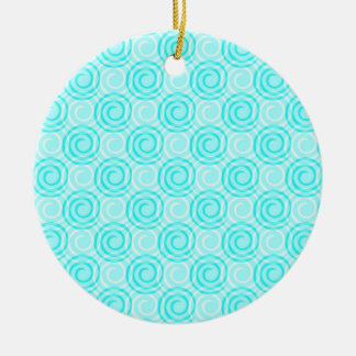 Summer Turquoise Swirls Pattern Ceramic Ornament