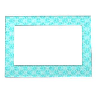 Summer Turquoise Swirls Pattern Magnetic Photo Frame