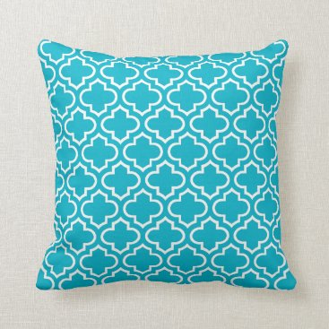 CozyLivin Summer Turquoise White Retro Chic Trellis Pattern Throw Pillow