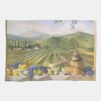 Summer Tuscan Vineyard Country Kitchen Towel