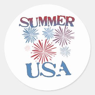 Summer, USA Classic Round Sticker