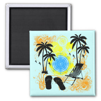 Summer Vacation 2 Inch Square Magnet