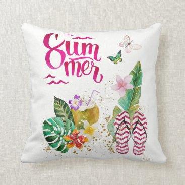 Beach Themed Summer, vacation, beach. Aloha Hawaii Throw Pillow