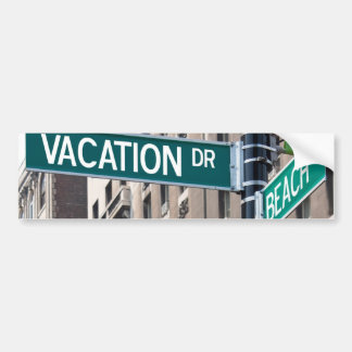 Summer Vacation Beach Street Signs Bumper Sticker