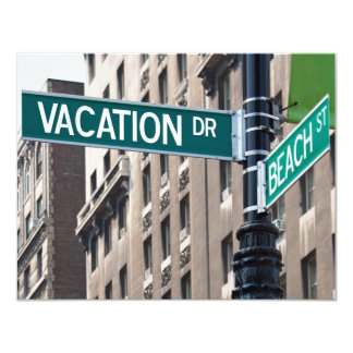 Summer Vacation Beach Street Signs Card