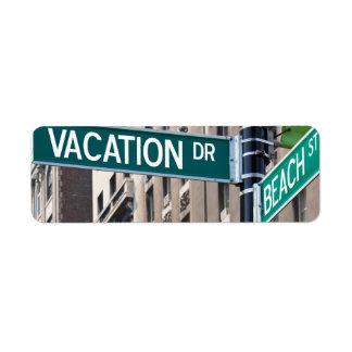 Summer Vacation Beach Street Signs Label