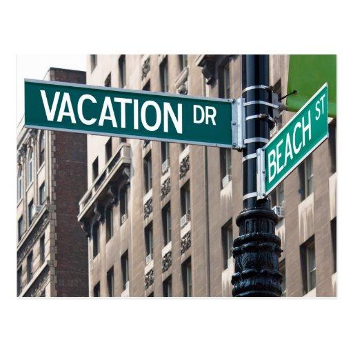 Summer Vacation Beach Street Signs Postcard