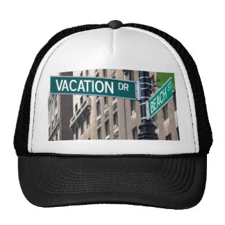 Summer Vacation Beach Street Signs Trucker Hat