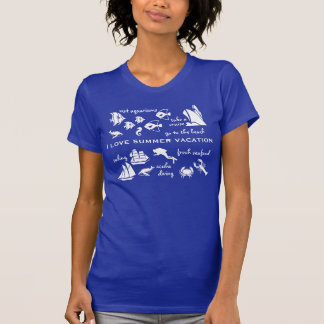 Summer vacation fun white and blue tees