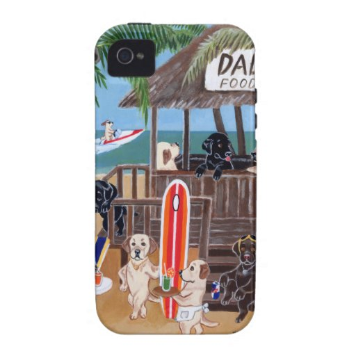Summer Vacation Labradors Painting Case-Mate iPhone 4 Cases