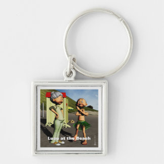 Summer Vacation Luau at the Beach Silver-Colored Square Keychain