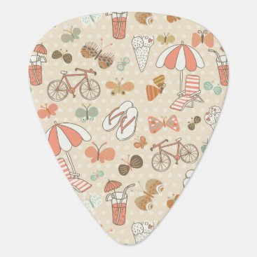 Beach Themed Summer Vacation Pattern Guitar Pick