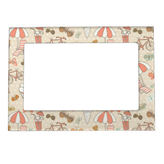 Summer Vacation Pattern Magnetic Frame
