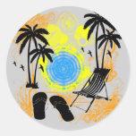 Summer Vacation Round Sticker