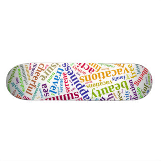 Summer vacations words cloud custom skateboard