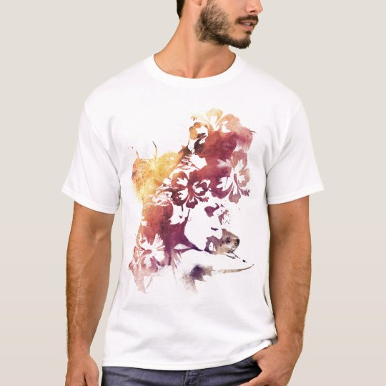 Summer Vintage Girl and Flowers T-Shirt