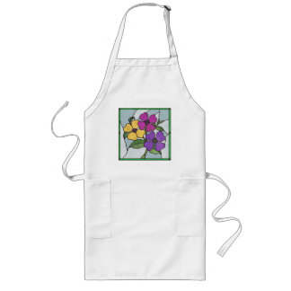 Summer Violas Stained Glass Style Apron