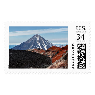 Summer volcanic landscape - crater active volcano postage