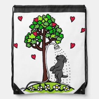 Summer Water Fun Black Labrador Cartoon Drawstring Backpack