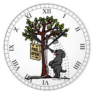 Summer Water Fun Black Labrador Large Clock