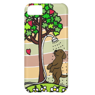 Summer Water Fun Chocolate Labrador Cartoon iPhone 5C Cases