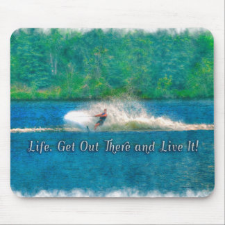 Summer Water-Skier and Lake Water-sports Mouse Pad