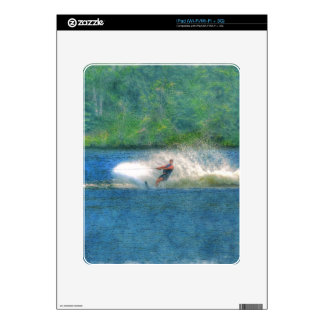 Summer Water-skiier and Lake Decal For iPad