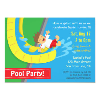 Summer Water Slide Birthday Pool Party Invitation