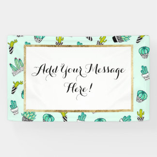 Summer Watercolor Cactus Black and White Pots Banner