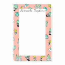 Summer Watercolor Cactus Modern Coral Pattern Post-it Notes
