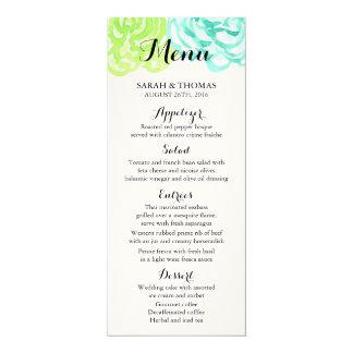 Summer Watercolor Flowers Wedding Menu Cards